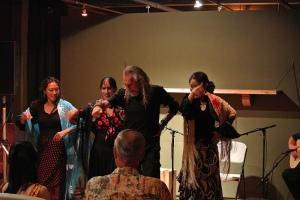 From left to right: Mitsue 'La Pura', La Ishi, Luis de La Tota and Miyuki 'La Costurera' dancing in Portland OR Photo by Chris Johnson of Solo Flamenco