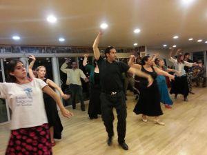 Ishi dancing in  Concha Vargas Sevillanas por Bulerías class at Flamenco Romatico Studio in Santa Cruz CA, photo by Amit