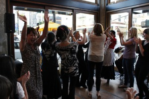 Cheryl's on 12th PDX, the crowd including the waitresses get up to dance with us